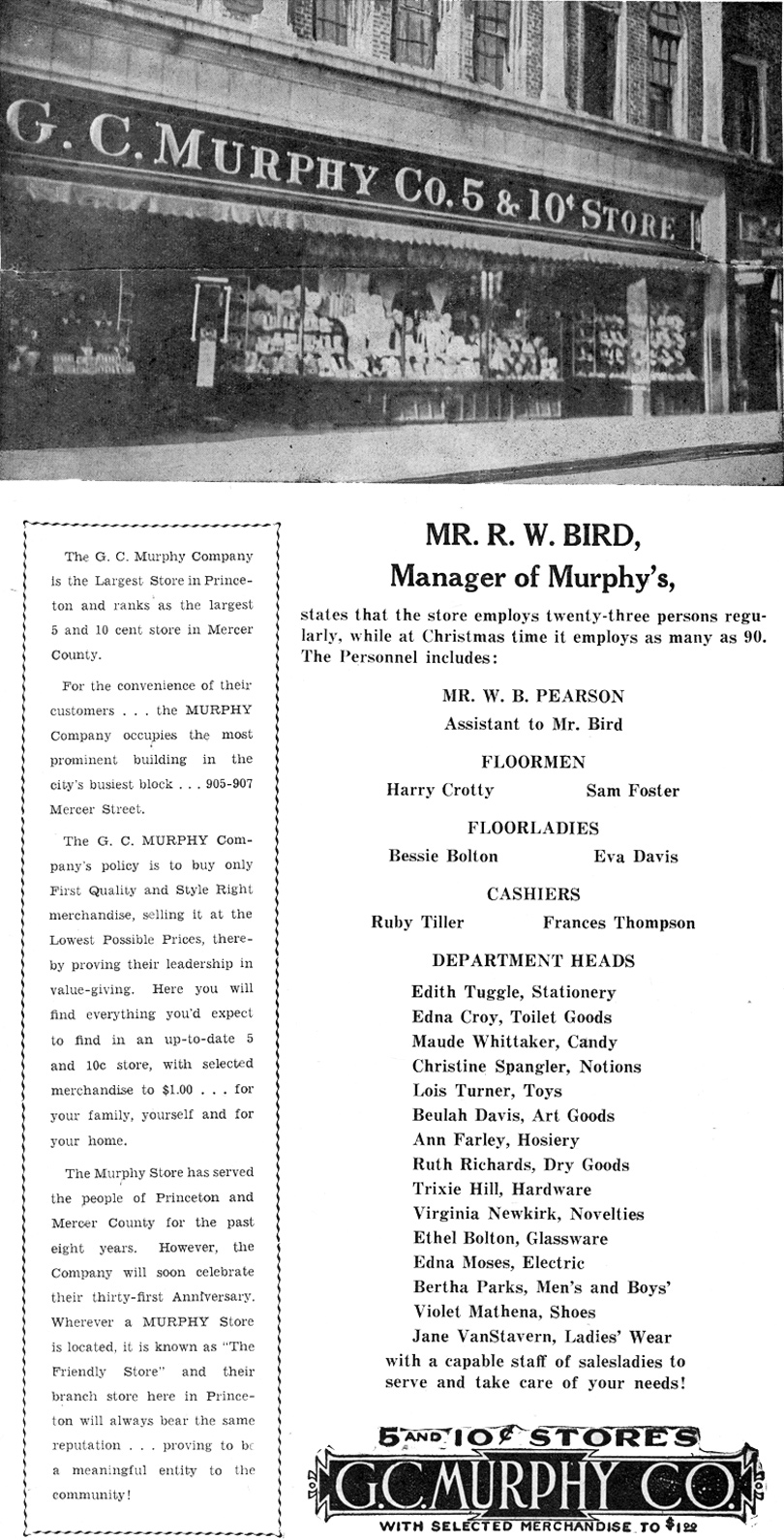G. C. Mrphy Company Advertisement on August 5, 1937